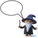 caractère drôle de magicien de magicien de la bande dessinée 3d avec le ballon de la parole illustration libre de droits