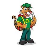 Caractère drôle de mascotte de tigre de bande dessinée Photos libres de droits