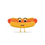 Caractère drôle et mignon de hot dog d'isolement sur le fond blanc Hot-dog avec le visage humain de sourire Badine le menu de res Image stock