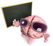 caractère du cerveau 3d enseignant au tableau noir