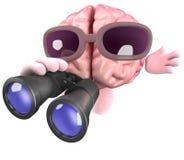 caractère du cerveau 3d utilisant des jumelles