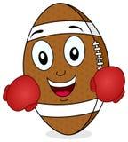 Caractère du football avec des gants de boxe Image stock