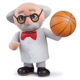 caractère du scientifique 3d tenant un basket-ball