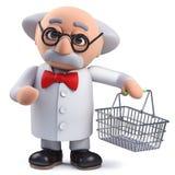 caractère du scientifique 3d tenant un panier à provisions