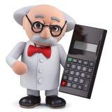 caractère du scientifique 3d tenant une calculatrice numérique