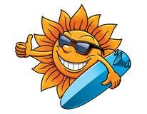 Caractère du soleil de bande dessinée avec des lunettes de soleil et Photo stock