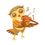 Caractère Emoji d'Owl Playing Violin Cute Cartoon avec Forest Bird Showing Human Emotions et le comportement Photographie stock libre de droits
