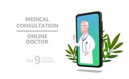 Caractère en ligne de docteur ou consultation patiente illustration libre de droits