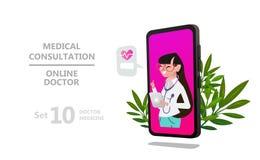 Caractère en ligne de femme de docteur ou consultation patiente illustration libre de droits