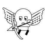 Caract?re ennemi de jeu vid?o avec les ailes et la bande dessin?e de vo?te en noir et blanc illustration stock