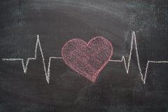Caractère et conception de battement de coeur sur le tableau noir Photographie stock libre de droits