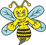 Caractère fâché d'animal de bande dessinée d'abeille illustration de vecteur