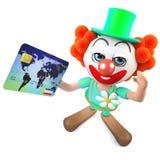 caractère fou de clown de la bande dessinée 3d drôle payant avec une carte de crédit Photo stock