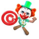 caractère fou de clown de la bande dessinée 3d drôle tenant un symbole de copyright Images stock