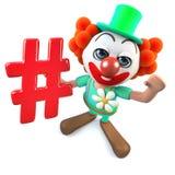 caractère fou de clown de la bande dessinée 3d drôle tenant un symbole social de media de hashtag Photographie stock libre de droits