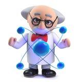 caractère fou de professeur du scientifique 3d étudiant un atome