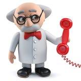 caractère fou du scientifique 3d répondant au téléphone