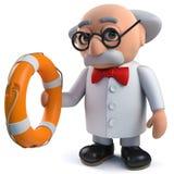 caractère fou du scientifique 3d tenant un anneau de vie