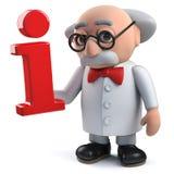 caractère fou du scientifique 3d tenant un symbole de l'information