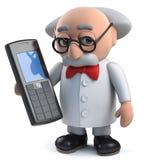 caractère fou fou du scientifique 3d tenant un téléphone portable