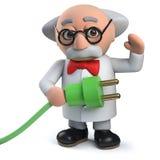 caractère fou du scientifique 3d tenant une avance d'énergie verte avec la prise