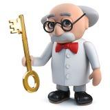 caractère fou du scientifique 3d tenant une clé d'or