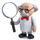 caractère fou du scientifique 3d tenant une loupe