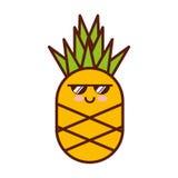 Caractère frais de kawaii de fruitv d'ananas illustration de vecteur