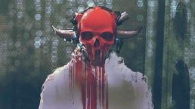 Caractère futuriste avec fondre le masque rouge de crâne illustration de vecteur