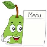 Caractère gai de poire avec le menu vide Photographie stock libre de droits