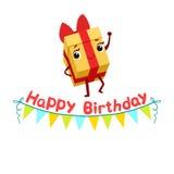 Caractère Girly de sourire de bande dessinée animée d'objet de Garland Kids Birthday Party Happy de boîte-cadeau et de papier de  Images stock