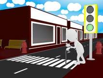 Caractère handicapé blanc traversant la route Photos libres de droits