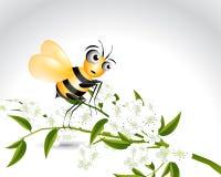 Caractère heureux d'abeille Photos stock
