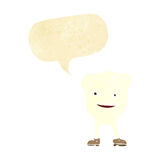 caractère heureux de dent de bande dessinée avec la bulle de la parole Image stock