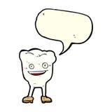caractère heureux de dent de bande dessinée avec la bulle de la parole Photos libres de droits