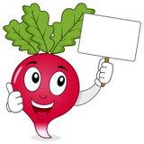 Caractère heureux de radis et bannière vide Photographie stock