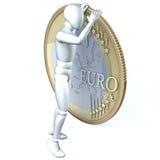 Caractère humain, homme regardant au-dessus du bord d'une pièce de monnaie d'un euro avec des jumelles Photographie stock