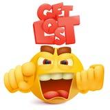 Caractère jaune d'emoji de visage de sourire avec émotion de colère illustration de vecteur