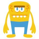 Caractère jaune drôle de monstre de bande dessinée d'isolement Images libres de droits