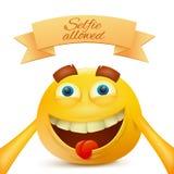 Caractère jaune souriant de visage d'émoticône d'Emoji faisant le selfie illustration de vecteur