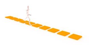 Caractère marchant sur un chemin orange image stock