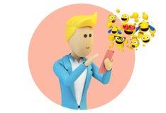 caractère masculin d'homme d'affaires de bande dessinée envoyant des emojis illustration de vecteur