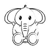 Caractère mignon d'animal sauvage d'éléphant grunge Images stock