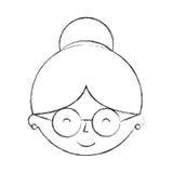 Caractère mignon d'avatar de tête de grand-mère Images libres de droits