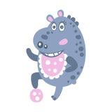 Caractère mignon d'hippopotame de bande dessinée jouant avec une illustration de vecteur de boule Photographie stock libre de droits