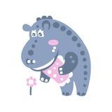 Caractère mignon d'hippopotame de bande dessinée tenant et regardant l'illustration de vecteur de fleur Photo stock