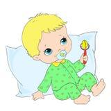 Caractère mignon de chéri Enfant en bas âge dans les vêtements de nuit Vecteur Images stock