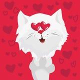 Caractère mignon de chat dans l'amour avec des coeurs dans les yeux illustration d'art dans la bande dessinée illustration stock