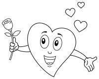 Caractère mignon de coloration de coeur tenant Rose illustration stock