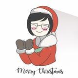 caractère mignon de fille avec des vêtements de Santa Claus image stock
